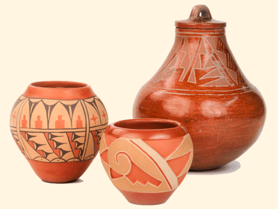 Three Southwestern pottery pieces