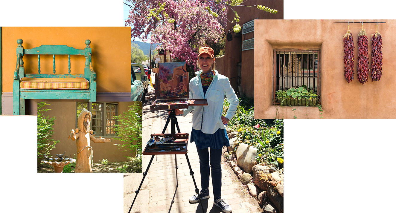 Collage of images featuring Southwestern style and featuring woman showing her painting in center